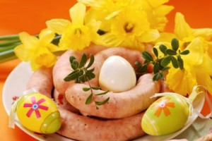 Easter Kiełbasa on a plate decorated for Easter