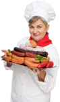 Woman Butcher Holding Tray of Kielbasa