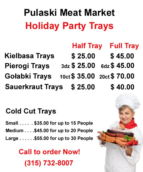 Pulaski Meat Market Party Tray Menu