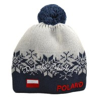 Polish Blue and Grey Snowflake Knit Hat
