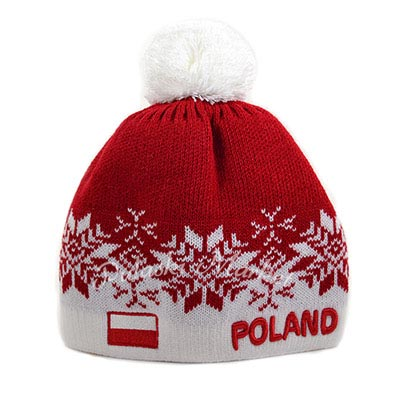 d141fc8dbe5 Red Poland Snowflake Knit Hat