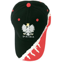 Black and Red Polish Eagle Baseball Hat