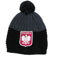 Black and Dark Gray Polska Knit Hat