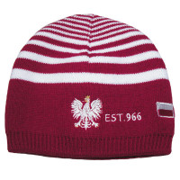 Red Polska Knit Hat with White Stripes