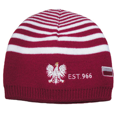 967265c5ff9 Red Polska Knit Hat with White Stripes